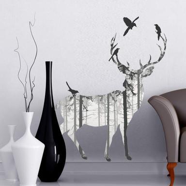 Wandsticker Hirsch Silhouette grau - Bild 1