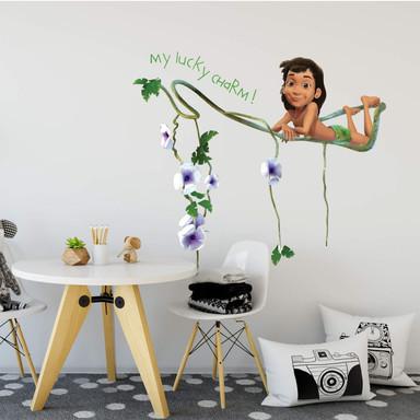 Wandsticker Mogli auf Blütenranke