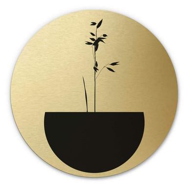 Alu-Dibond-Goldeffekt Kubistika - Abstracticum - Rund