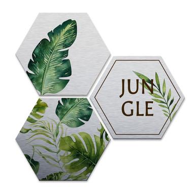 Hexagon - Alu-Dibond-Silbereffekt - Kvilis - Jungle (3er Set)
