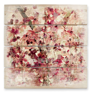 Holzbild Vintage Blütenmuster