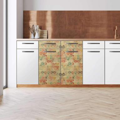 Küchenfolie - Unterschrank 80cm Breite - 3D Retro Pattern
