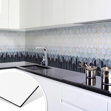 Küchenrückwand Fredriksson - Hexagone: Blau und Weiss