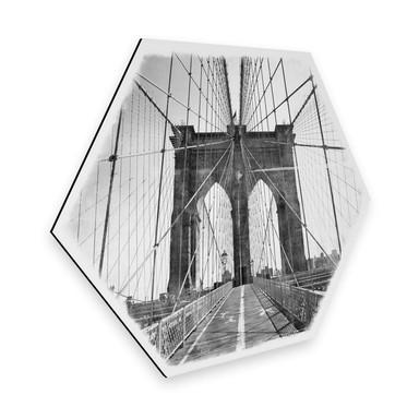 Hexagon - Alu-Dibond - Brooklyn Bridge Perspektive - Shabby