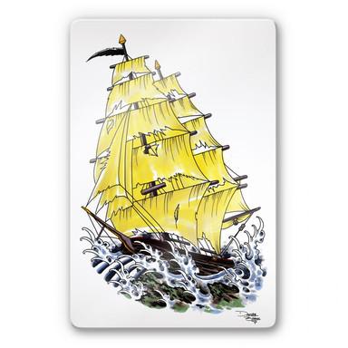 Glasbild Miami Ink Segelschiff