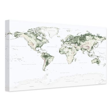 Leinwandbild Topografische Weltkarte - Vintage