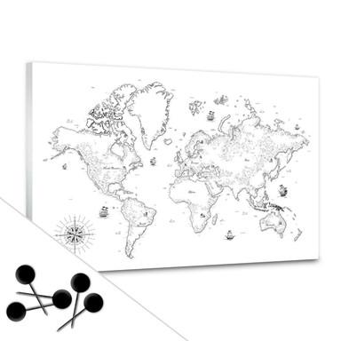 Memoboard Weltkarte - Aus vergangenen Zeiten inkl. 5 Pinnadeln