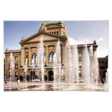 Poster Wasserspiel vor Schweizer Parlamentsgebäude