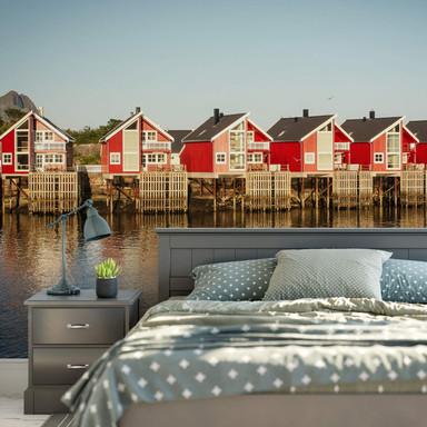 Fototapete Ferienhäuser am Meer - 384x260cm - Bild 1