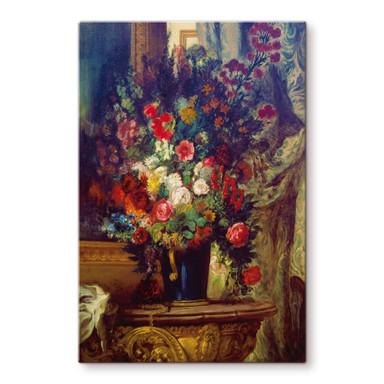 Glasbild Delacroix - Vase mit Blumen auf einer Konsole