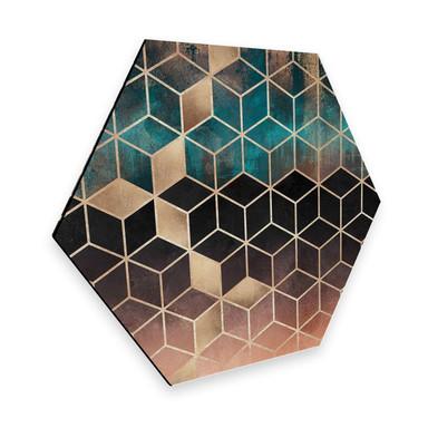 Hexagon - Alu-Dibond Fredrikkson - Goldgrüne Geometrie