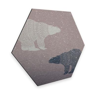 Hexagon - Alu-Dibond-Silbereffekt Polarbären
