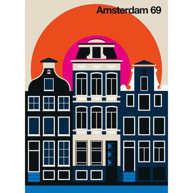 Livingwalls Fototapete ARTist Amsterdam 69 beige, blau, orange, rosa, schwarz - Bild 1