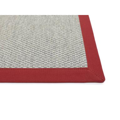Saba Wollweb 5cm Bordürenteppich | Wunschmass | Rechteckig | Silver | Mohn-Rot 11