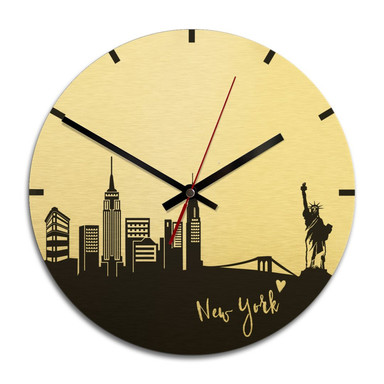 Wanduhr Alu-Dibond-Goldeffekt - Skyline New York - Ø 28cm - Bild 1