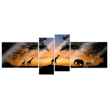 Acrylglasbild African Sunset (4-teilig)