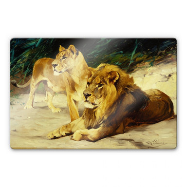 Glasbild Kuhnert - Löwenpaar