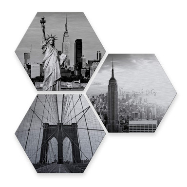 Hexagon - Alu-Dibond-Silbereffekt - Impression of New York City (3er Set)