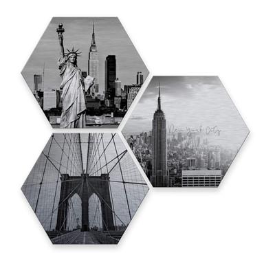 Hexagon - Alu-Dibond-Silbereffekt - Impression of New York City (3er Set)