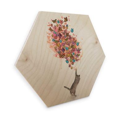 Hexagon - Holz Birke-Furnier Graves - Catching Butterflies