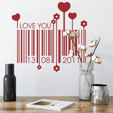 Wandtattoo & Datum Liebes Barcode