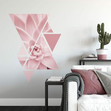 Wandtattoo Sisi & Seb - Rosa Sukkulente im Dreieck