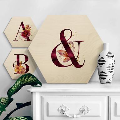 Hexagon - Holz Buchstabensteine Burgundy Alphabet