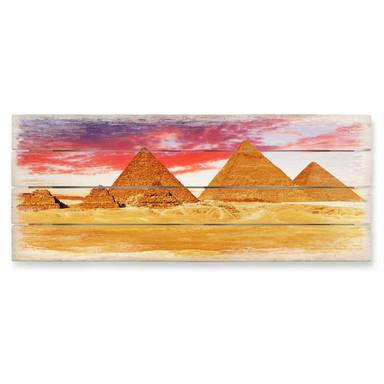 Holzbild Die Pyramiden von Gizeh - Panorama