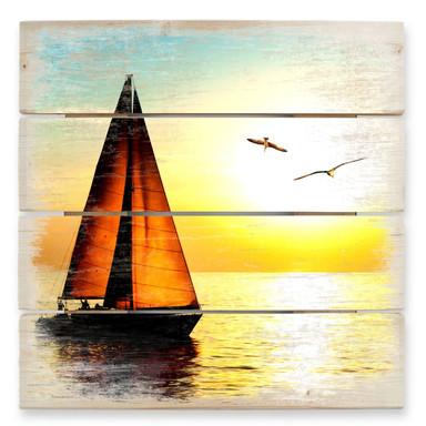 Holzbild Segelboot im Sonnenuntergang