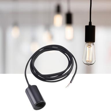 Leuchtenpendel Fitu, Aluminium, E27. schwarz, 2.5 Meter