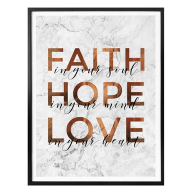 Poster Kupferoptik - Faith Hope Love