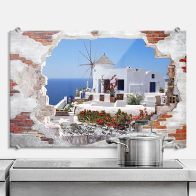 Spritzschutz 3D Optik - Urlaub in Griechenland