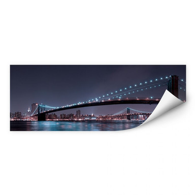 Wallprint Bravin -  Manhattan Skyline bei Nacht - Panorama