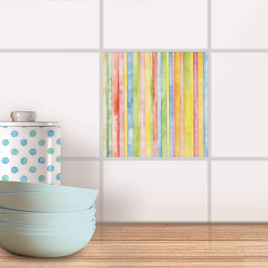 Fliesenaufkleber - Watercolor Stripes- Bild 1