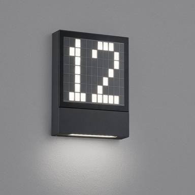 LED Hausnummernleuchte Dial in Graphit und Transparent-satiniert 4W 170lm IP54