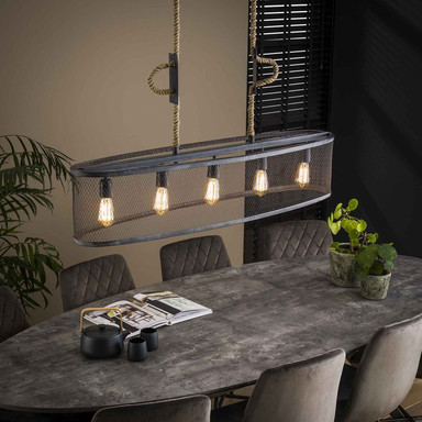 famlights | Pendelleuchte Amy in Silber E27 5-flammig