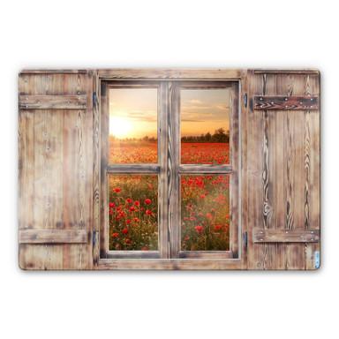 Glasbild 3D Holzfenster - Mohnblumen im Sonnenuntergang