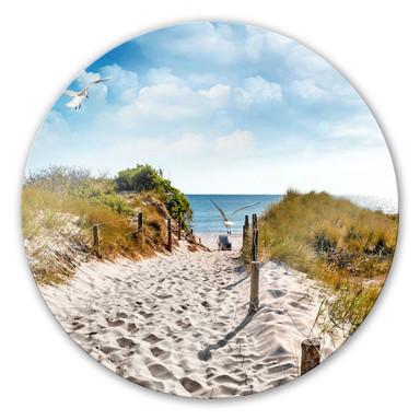 Glasbild Way to the Beach - rund