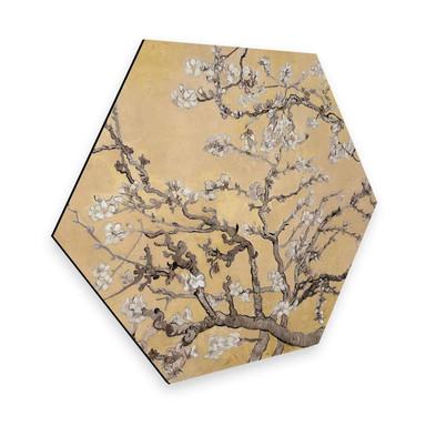 Hexagon - Alu-Dibond van Gogh - Mandelblüte Creme