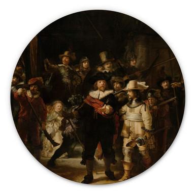 Holzbild Rembrandt - Die Nachtwache - Rund