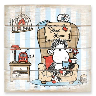 Holzbild sheepworld Home Sheep Home Tea Time