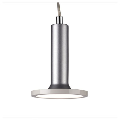 famlights | 1 Phasen LED Pendelleuchte Victor in Silber mit Leuchtmittel in Weiss
