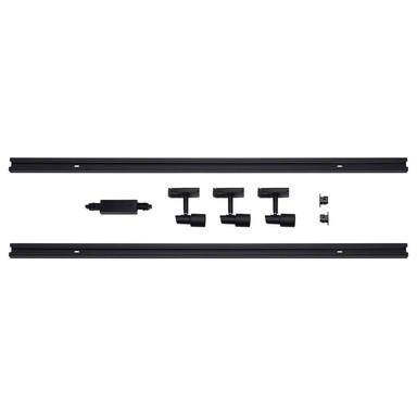 famlights   1-Phasen Schienensystem-Set 2 Meter inkl. 3 Spots in Schwarz GU10