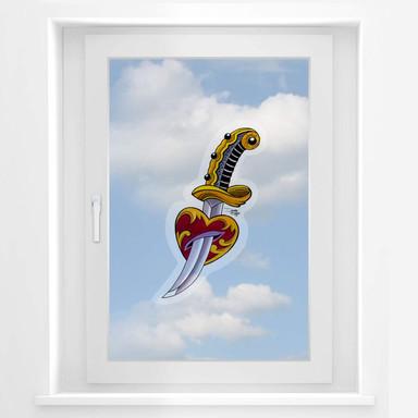 Fensterbild Miami Ink Schwert mit Herz