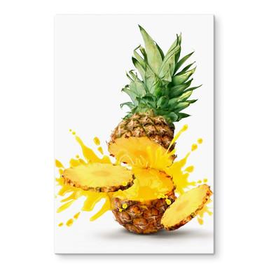 Glasbild Splashing Pineapple