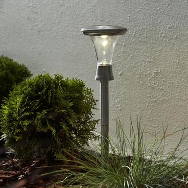 LED Solar Erdspiessleuchte Turin, 2-er Set, Edelstahl, 470mm