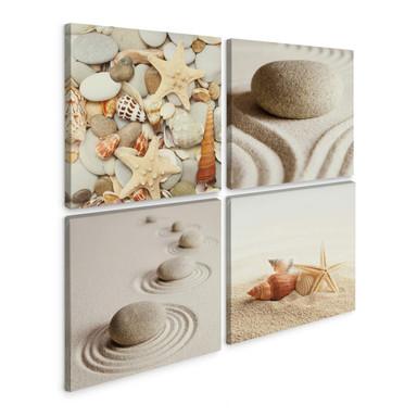 Leinwandbild Muscheln und Steine (4-teilig)