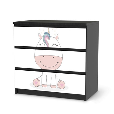 Klebefolie IKEA Malm Kommode 3 Schubladen - Baby Unicorn- Bild 2
