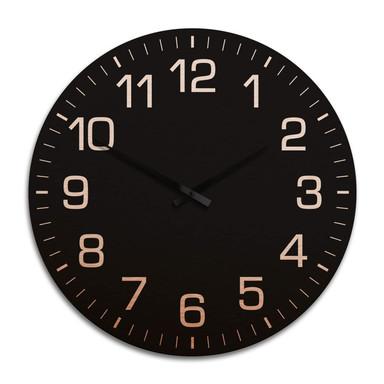 XXL Wanduhr Alu Dibond Kupfereffekt - Klassisch mit Minutenanzeige negativ Ø 70cm - Bild 1