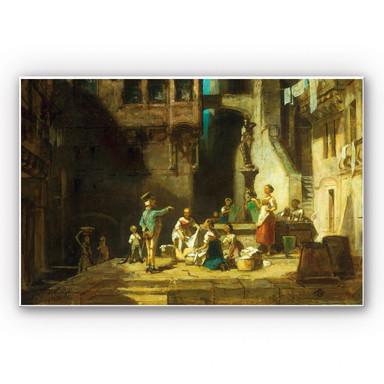 Hartschaumbild Spitzweg - Wäscherinnen am Brunnen